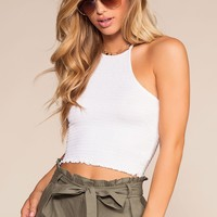 Lola Bay Halter Smocked Crop Top - White