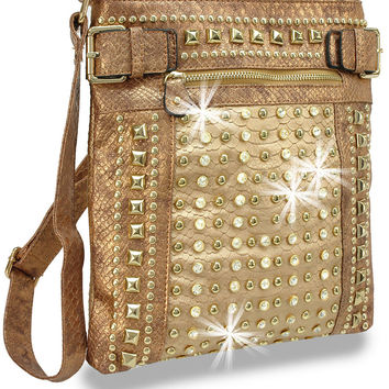 * Rhinestone and Stud Accent Metallic Cross Body Handbag In Gold