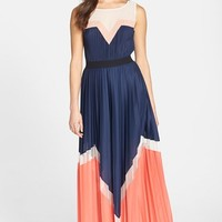Women's BCBGMAXAZRIA 'Katherine' Colorblock Pleated Maxi Dress