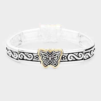 Butterfly Metal Filigree Stretch Bracelet