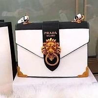 PRADA High Quality Fashionable Women Shopping Bag Leather Lion Head Shoulder Bag Crossbody Satchel White