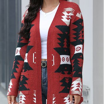 New hot sale fashion knit printing slim long wild cardigan