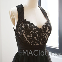 Tank Halter Lace Mini Black Homecoming Dress, Short Prom Gown