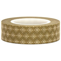 Olive Green Paper Deco Washi Masking Tape Roll Adhesive Stickers - white pattern WT34