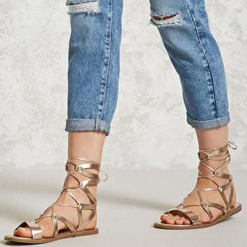 Metallic Ankle-Wrap Sandals