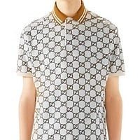 GUCCI Fashionable Men Women Casual Print Short Sleeve Polo Shirt Top