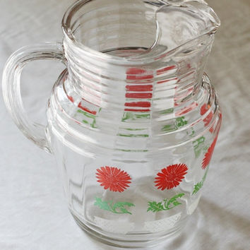 Vintage 96 ounce Glass Pitcher With Ice Lip- Ice Tea pitcher - Juice Pitcher