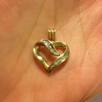 10K Diamond Heart Pendant .25 TCW Channel Set 10KT Yellow Gold Enhancer Slide 4 Necklace Vintage Jewelry Valentine's Mother's Birhday Gift