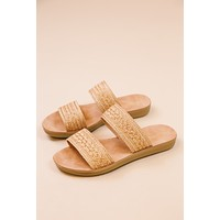 Amaya Woven Double Strap Sandal W/ Metallic Thread, Tan