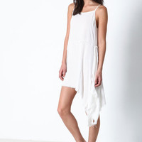 WHITE FRAY TATTERED SLIP DRESS