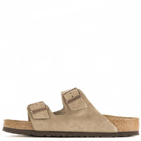 Birkenstock Unisex: Arizona Soft Footbed Taupe Suede Sandals