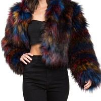 Colorful Faux Fur Jacket