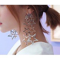 Exaggerated fashion shiny and more falling geometric metal hollow five-pointed star long earrings