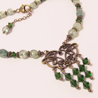 Emerald Green and Antique Brass Victorian Necklace - Vintage Style, Edwardian, Filigree, Renaissance, goth