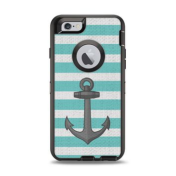 The Teal Stripes with Gray Nautical Anchor Apple iPhone 6 Otterbox Defender Case Skin Set