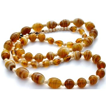 """Brown Art Glass Graduated Bead Necklace 34"""" Vintage"""