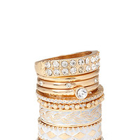 FOREVER 21 Lacquered Rhinestone Ring Set White/Gold