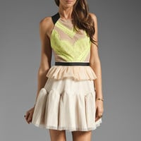 Three Floor Electro Pop Dress in Nude/Black/Neon Yellow from REVOLVEclothing.com
