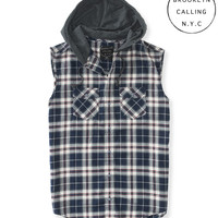 Aeropostale  Mens Brooklyn Calling Sleeveless Hooded Woven Shirt