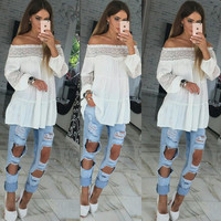 Lace Patchwork Tops Strapless Long Sleeve T-shirts [9284389828]