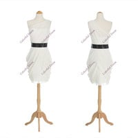 White One Shoulder Sheer Bodice Non-Removable Black Sash Knee Length Cocktail/Prom Dresses Bridesmaid Custom Color/Size/ A021