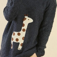 Black Cute Giraffe Pattern Sweater = 1920419524