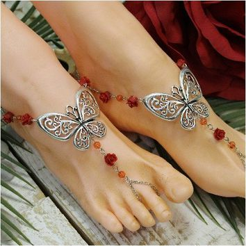 BUTTERFLY - barefoot sandals - red rose (ooak)