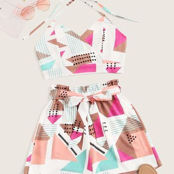 Geo Print Halter Top With Belted Shorts