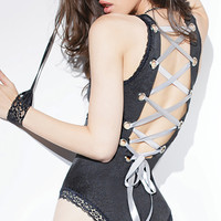 Lace-Up Black Teddy with Lace Wrist Restraints