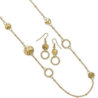 Ultra Long Gold Tone Fashion Necklace and Earring Set
