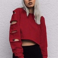 Women Sexy Hollow Hole Long Sleeve cropped hoodie Short sweatshirt sudaderas mujer 2017 Solid O neck Casual Streetwear gb2