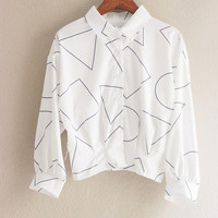 Shapes Patterned Loose Polo Shirt