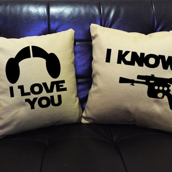 I love you I know, Star Wars Pillow Cover Set,love pillow cover,Mr and Mrs,Wedding gift, Family pillow cover set cotton canvas pillow cover
