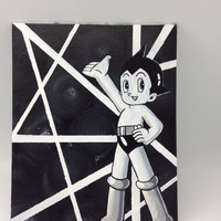 Astro Boy acrylic painting on canvas panel hanging wall décor