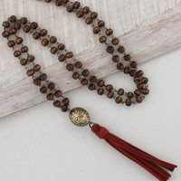 Crimson Suede Tassel & Wood Bead Necklace