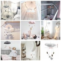 Nordic Style Cotton Kids Room Decor Crib Hanging Toys Cloud Wall Ornaments Wind Chimes Moon Doll