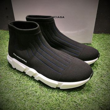 Best Online Sale Balenciaga Speed Low Slip-On Black Blue White Socks Shoes Casual Shoes