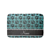 Custom name turquoise glitter black dog paws bath mats
