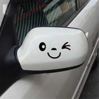 2pcs Smile Face Design 3D Decal Decoration Sticker for Car Side Mirror Rearview ...