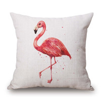 Pink Flamingo Series Printed Square Cotton Linen Decorative Sofa Ikea Cushion Covers Without Filling 45x45cm Pillowcase Wedding