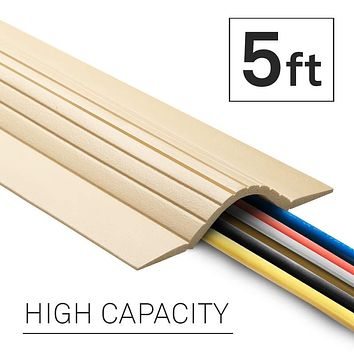 UT Wire 5-Feet Cable Blanket High Capacity Low Profile Cord Cover and Protector, Beige 5 ft