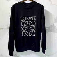 Loewe new tide brand cotton embroidered round neck sweater