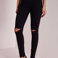 Missguided - Vice High Waisted Ripped Knee Skinny Jeans Black