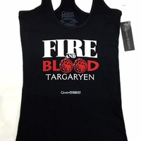 Game Of Thrones TARGARYEN FIRE AND BLOOD Girls Tank Top NWT Licensed & Authentic