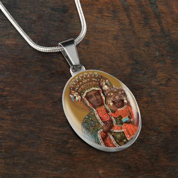 Black Madonna and Child//Black Jesus Necklace//Art in Glass//Madonna Necklace