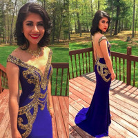 CYF39 Middle East Royal Blue Mermaid Prom Dresses 2017 O Neckline Sparkly Bead Sequin Long Women Evening Dress Vestidos De Festa