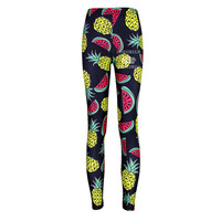 Black fruit pineapple watermelon  Yoga Leggings