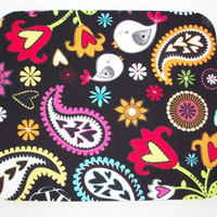 Mouse Pad mousepad / Mat - Rectangle or round - black colorful paisley birds - cubicle decor office desk coworker gift