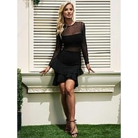 Roberta Bandage Mesh Detailed Mini Dress