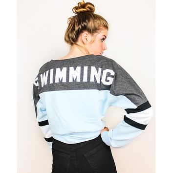 Swimming Appliqué Lace Up Jersey